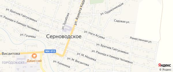 Комсомольская улица на карте Серноводского села с номерами домов