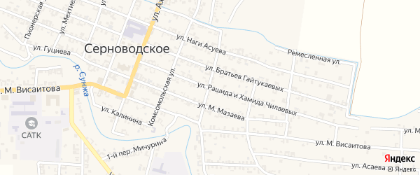 Улица Джанаралиева на карте Серноводского села с номерами домов