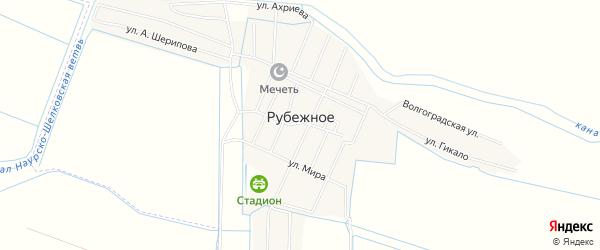 Карта Рубежного села в Чечне с улицами и номерами домов