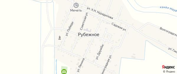 Волгоградская улица на карте Рубежного села с номерами домов