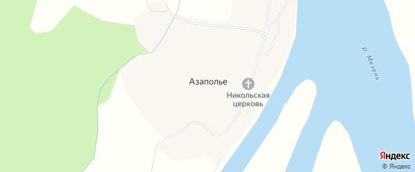 Карта деревни Азаполья в Архангельской области с улицами и номерами домов