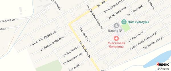 Народная улица на карте Ассиновской станицы с номерами домов