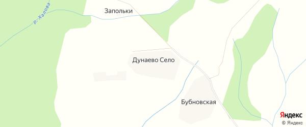 Карта деревни Дунаева Села в Архангельской области с улицами и номерами домов