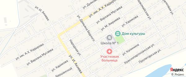 Улица Д.Бедного на карте Ассиновской станицы с номерами домов