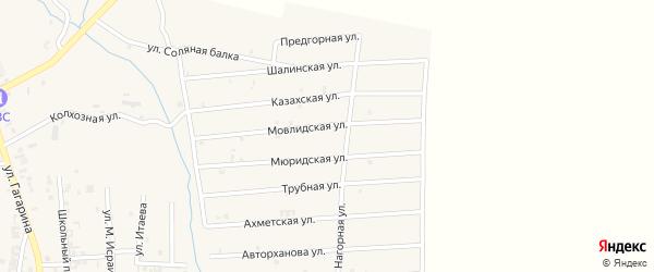 Предгорная улица на карте Серноводского села с номерами домов