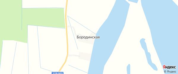 Карта Бородинской деревни в Архангельской области с улицами и номерами домов