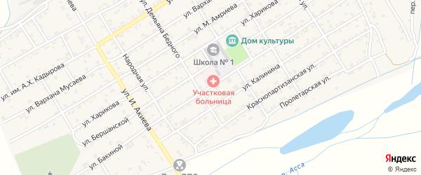 Улица Бакиной на карте Ассиновской станицы с номерами домов