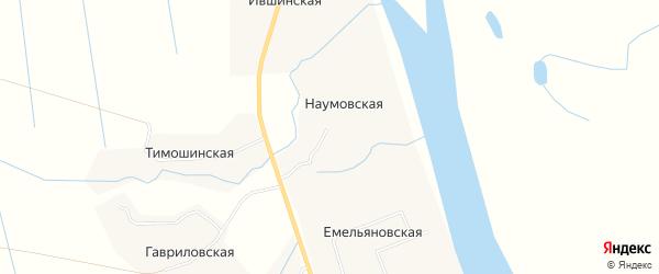 Карта Наумовской деревни в Архангельской области с улицами и номерами домов