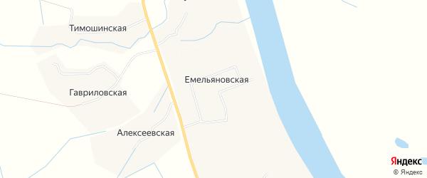 Карта Емельяновская 2-я деревни в Архангельской области с улицами и номерами домов