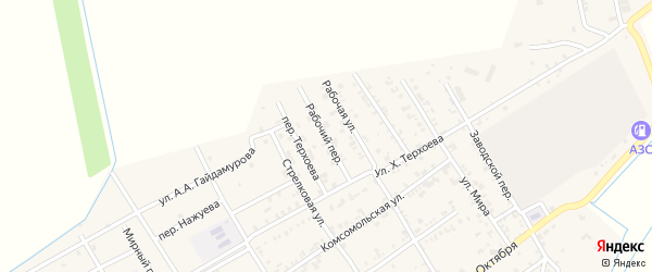 Рабочий переулок на карте Ассиновской станицы с номерами домов
