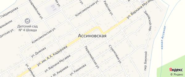 Пролетарская улица на карте Ассиновской станицы с номерами домов