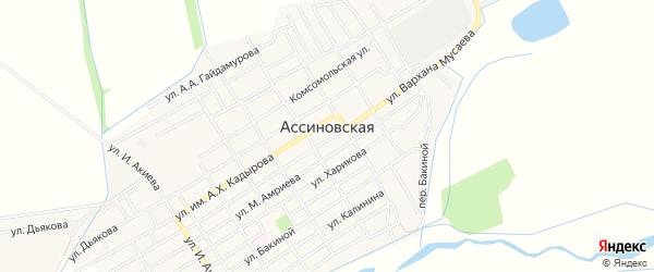 Карта Ассиновской станицы в Чечне с улицами и номерами домов