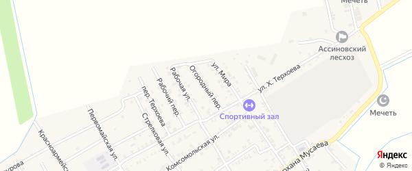 Огородный переулок на карте Ассиновской станицы с номерами домов
