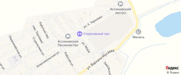 Заводской переулок на карте Ассиновской станицы с номерами домов