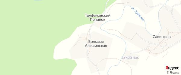 Карта Большей Алешинской деревни в Архангельской области с улицами и номерами домов