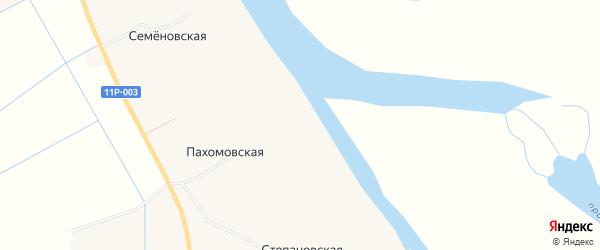 Карта Пахомовской деревни в Архангельской области с улицами и номерами домов