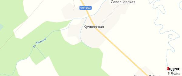 Карта Кучковской деревни в Архангельской области с улицами и номерами домов