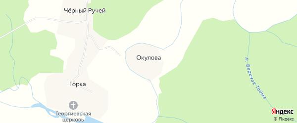 Карта деревни Окулова в Архангельской области с улицами и номерами домов