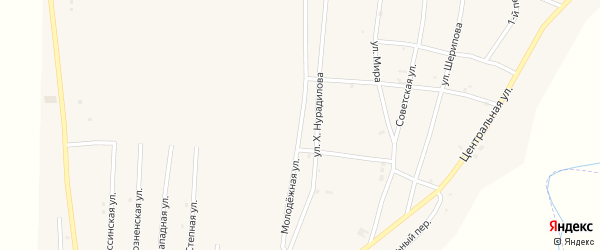 Молодежная улица на карте села Бамут с номерами домов