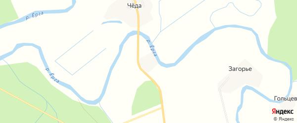 Карта деревни Загорья в Архангельской области с улицами и номерами домов