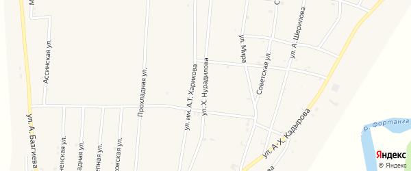 Улица Х.Нурадилова на карте села Бамут с номерами домов
