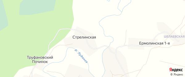 Карта Стрелинской деревни в Архангельской области с улицами и номерами домов