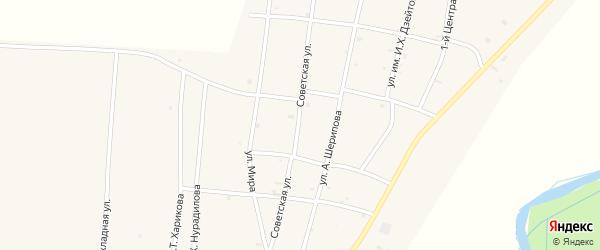 Советская улица на карте села Бамут с номерами домов