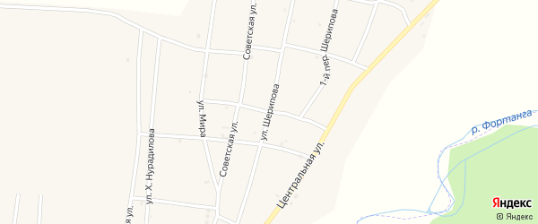 Улица А.Шерипова на карте села Бамут с номерами домов