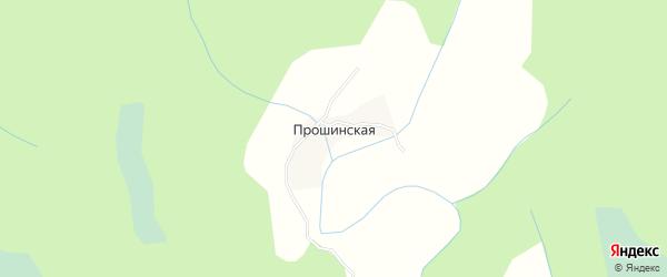 Карта Прошинской деревни в Архангельской области с улицами и номерами домов