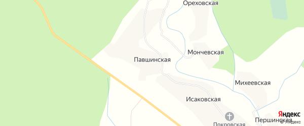 Карта Павшинской деревни в Архангельской области с улицами и номерами домов