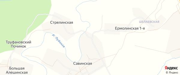 Карта Нижней Анисимовской деревни в Архангельской области с улицами и номерами домов