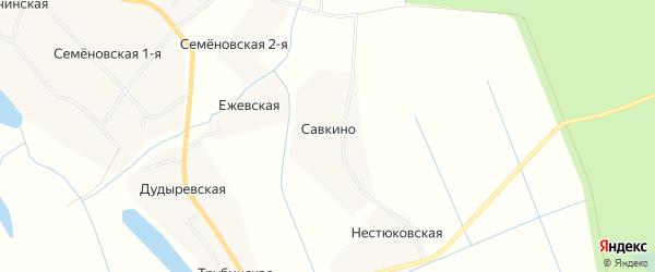 Карта деревни Савкино в Архангельской области с улицами и номерами домов