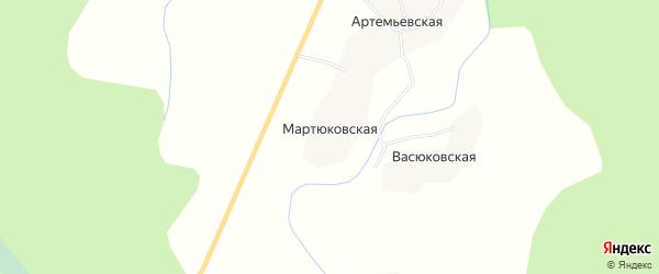 Карта Мартюковской деревни в Архангельской области с улицами и номерами домов