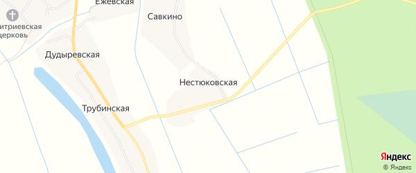 Карта Нестюковской деревни в Архангельской области с улицами и номерами домов