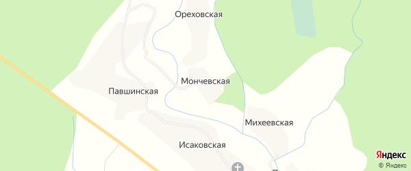 Карта Мончевской деревни в Архангельской области с улицами и номерами домов