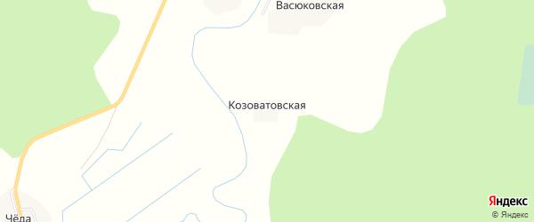 Карта Козоватовской деревни в Архангельской области с улицами и номерами домов