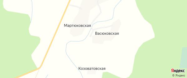 Карта Васюковской деревни в Архангельской области с улицами и номерами домов