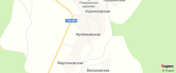Карта Артемьевской деревни в Архангельской области с улицами и номерами домов