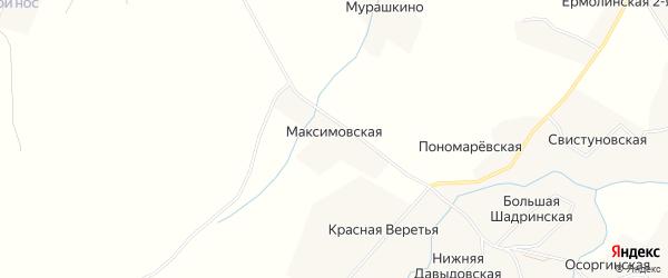 Карта Максимовской деревни в Архангельской области с улицами и номерами домов