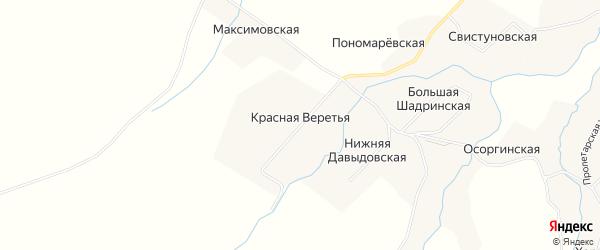 Карта Красная Веретья деревни в Архангельской области с улицами и номерами домов