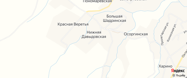 Карта Нижней Давыдовской деревни в Архангельской области с улицами и номерами домов