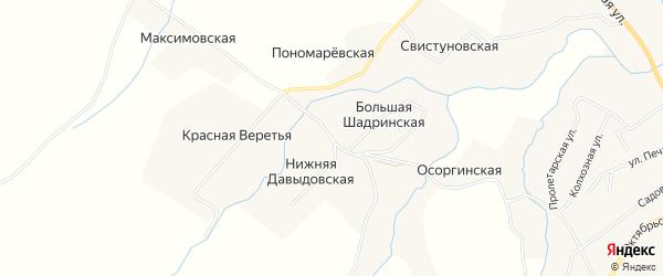 Карта Большей Шадринской деревни в Архангельской области с улицами и номерами домов
