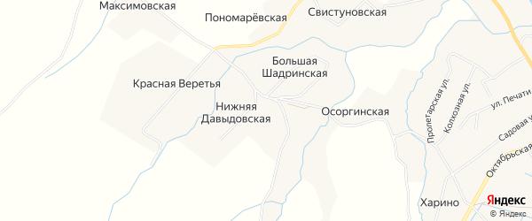 Карта Давыдовской деревни в Архангельской области с улицами и номерами домов