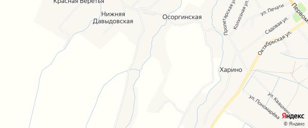 Карта Осоргинской деревни в Архангельской области с улицами и номерами домов