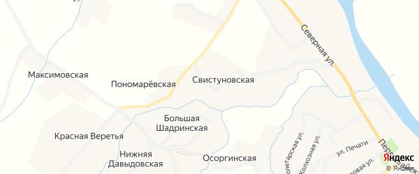 Карта Пономаревской деревни в Архангельской области с улицами и номерами домов