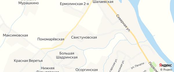 Карта Свистуновской деревни в Архангельской области с улицами и номерами домов