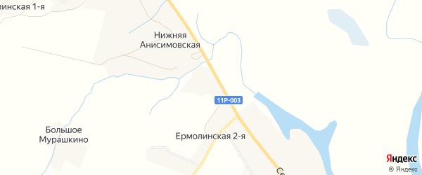 Карта деревни Ермолинской-2 в Архангельской области с улицами и номерами домов
