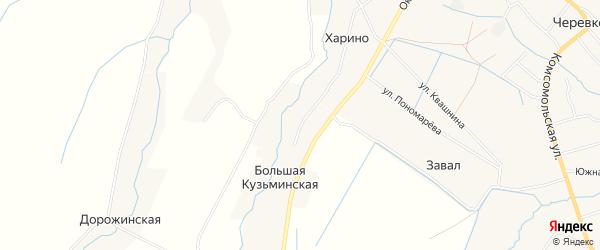 Карта Большей Кузьминской деревни в Архангельской области с улицами и номерами домов