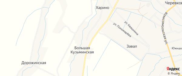Карта деревни Завала в Архангельской области с улицами и номерами домов