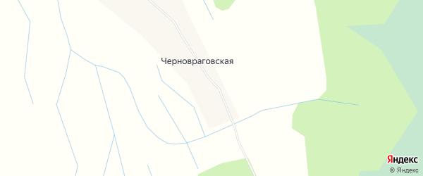 Карта Черновраговской деревни в Архангельской области с улицами и номерами домов